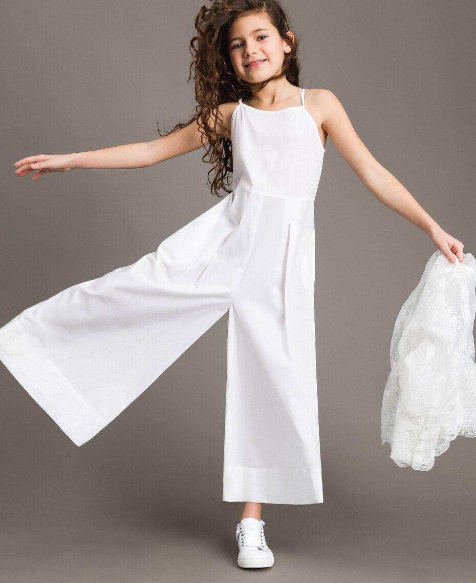 Popeline-Jumpsuit und Organza-Bluse Weiß Kind 191GJ2QB0-05