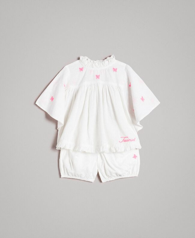 Plumetis blouse and shorts with embroidery Optical White / Neon Fuchsia Embroidery Child 191GB2370-01