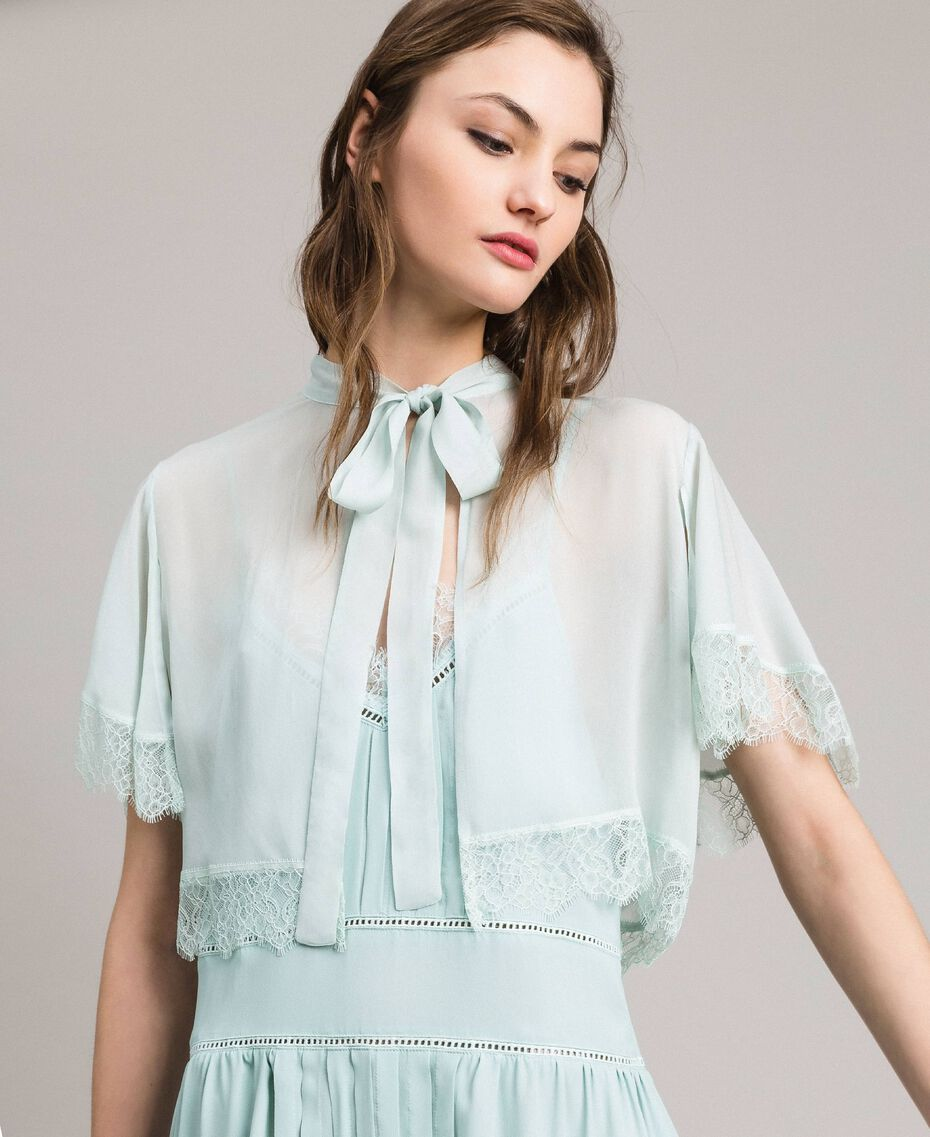 Georgette and lace shrug Acquamarine Woman 191TP2373-02