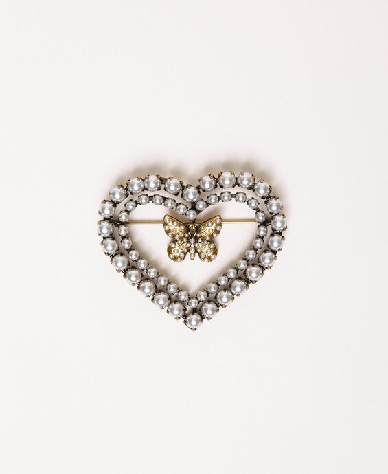 Heart shaped brooch with butterfly and pearls