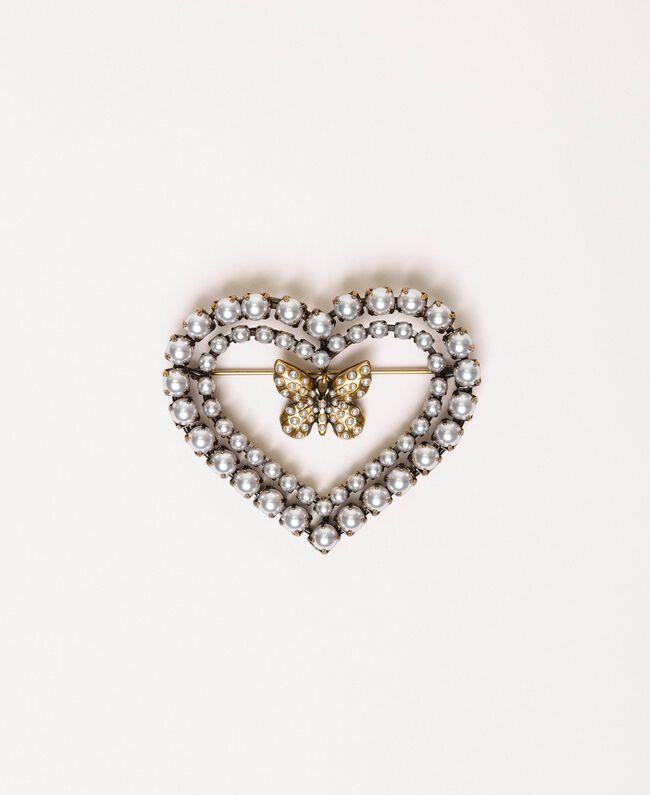 """Herzbrosche mit Perlen und Schmetterling """"Kupfriges Altmessing""""-Gold Frau 201TA430G-01"""
