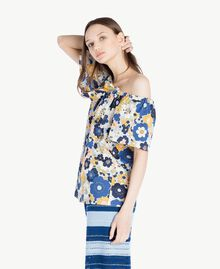 Bluse mit Print Flacher Blumenprint Placid Blue Frau SS82PB-02