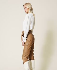 """Coated fabric carrot fit trousers """"Rum"""" Brown Woman 212TP2021-02"""