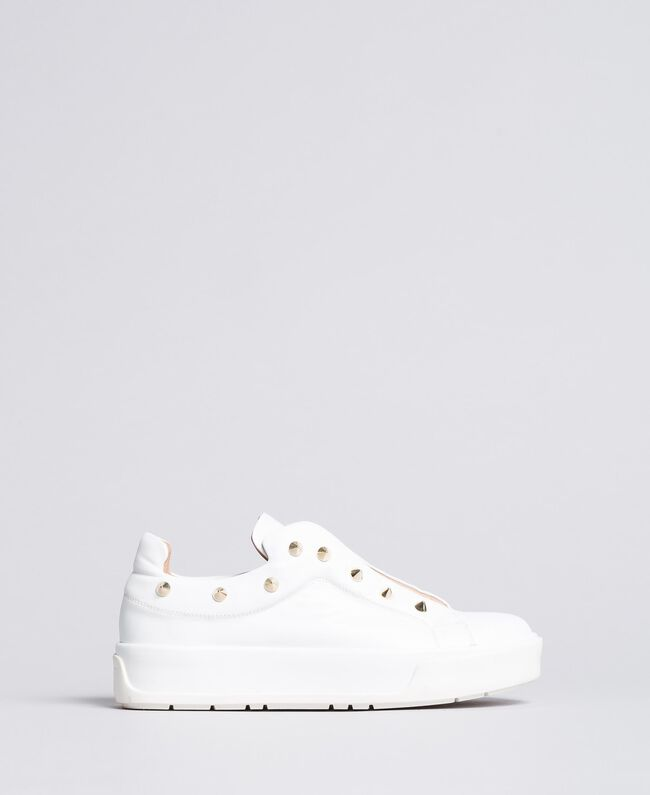 Baskets en cuir avec clous Blanc Neige Femme CA8TFA-01