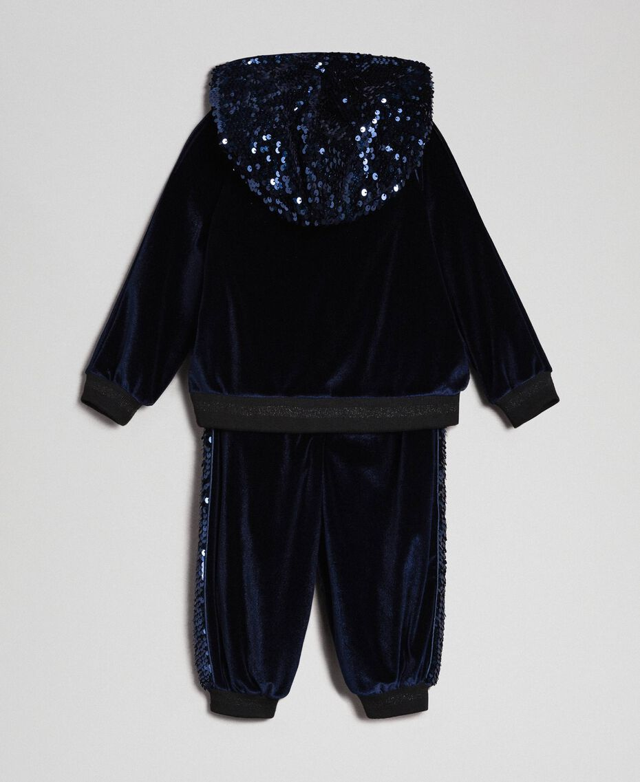 Sweat en velours et pantalon avec sequins Blue Night Enfant 192GB2092-0S