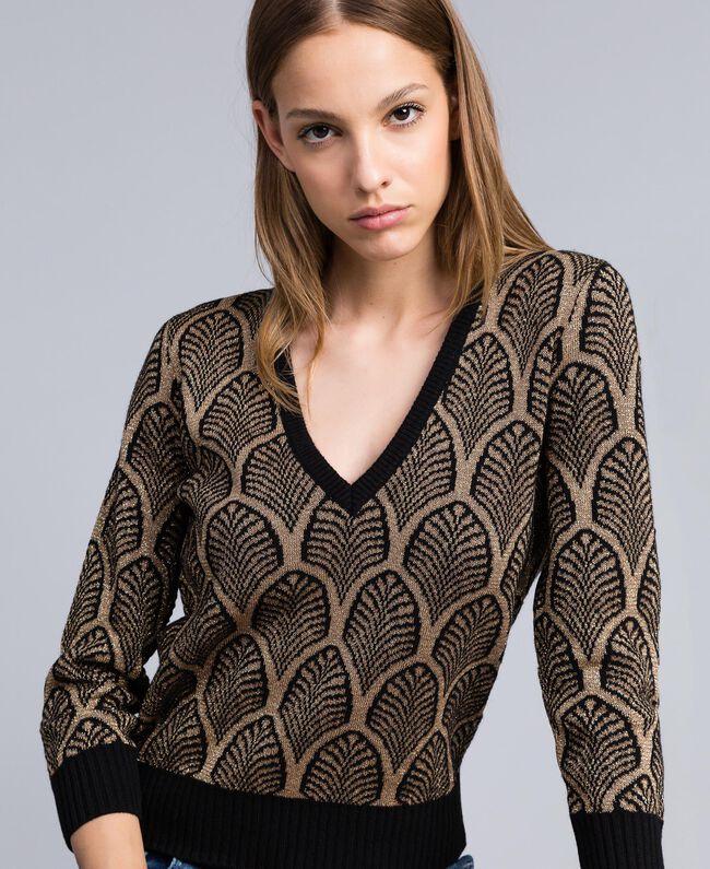 Pullover aus Wollmischung und Lurex in Jacquardverarbeitung Jacquard Schwarz / Goldlurex Frau TA8323-01
