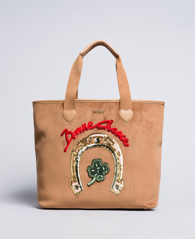 Shopper aus Samt mit Stickerei Camel Frau AA8PLA-03