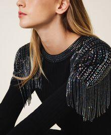 Платье из трикотажа в рубчик с бахромой Черный женщина 202TT3211-04