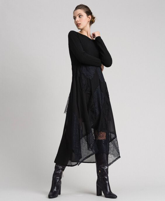 Knit and georgette long dress with lace