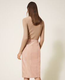 """Faux patent leather skirt """"Nude"""" Beige Woman 202ST2042-03"""