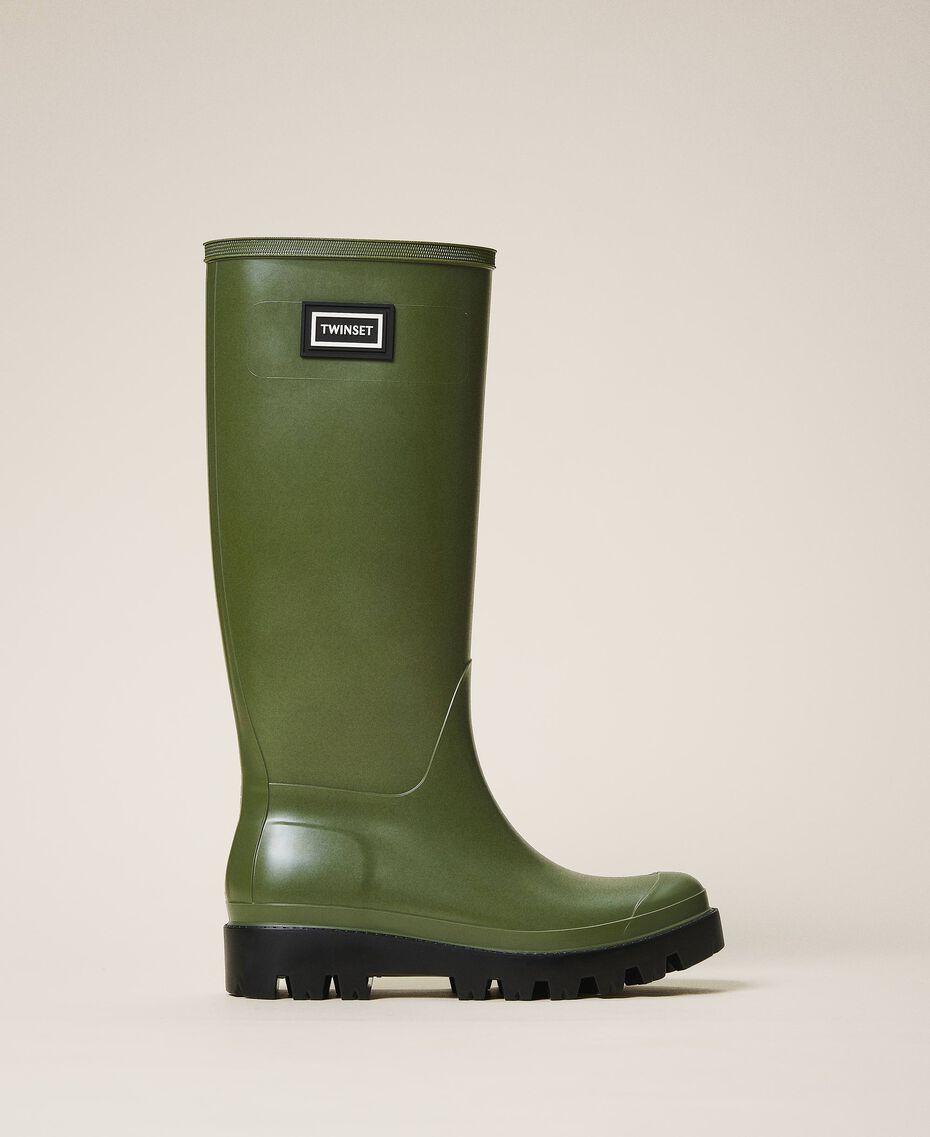 Rain boots with logo Creamy White Woman 202TCP210-03