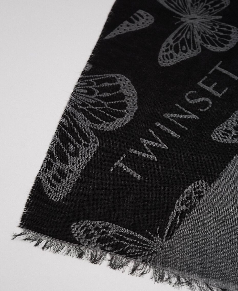 Butterfly scarf with jacquard logo Black / Lily Jacquard Woman 192TA4409-02