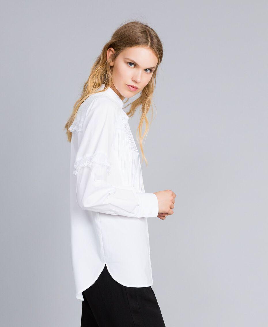Hemd aus Baumwollpopeline Weiß Frau TA82XP-02