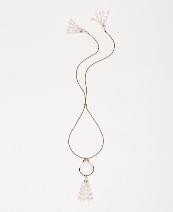 Ожерелье регулируемой длины с раковиной и жемчужинами