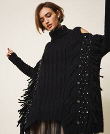Maxi pull en laine et alpaga avec broderie Noir Femme 202TT3353-04