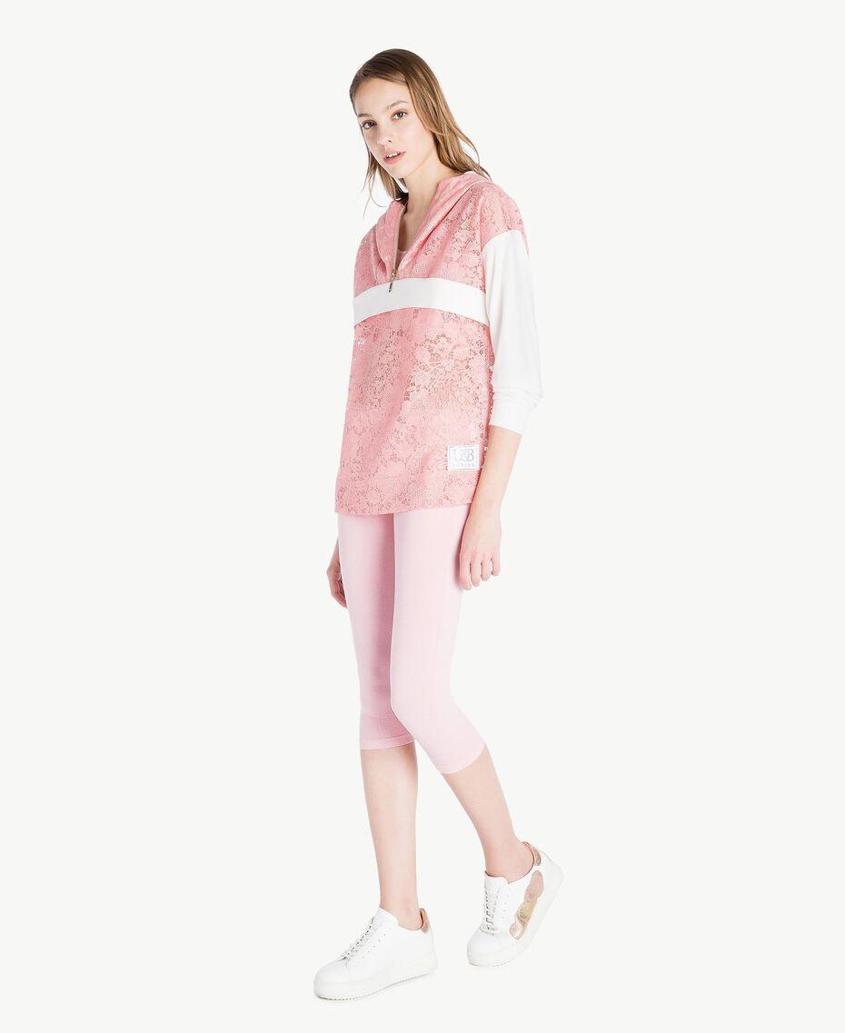 Sweatshirt aus Spitze Zweifarbig Pinkie / Optisches Weiß Frau LS89AA-03