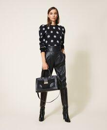 Polka dot jacquard jumper Two-tone Black / Snow White Jacquard Woman 202TT3221-0T