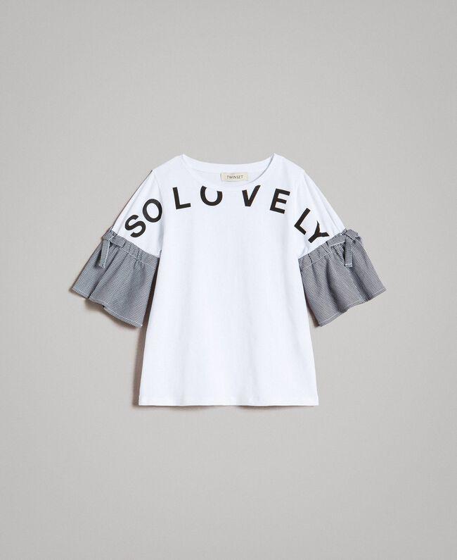 T-Shirt aus Jerseystoff mit Gingham-Volants Zweifarbig Optisch Weiß / Gingham Kind 191GJ2731-01