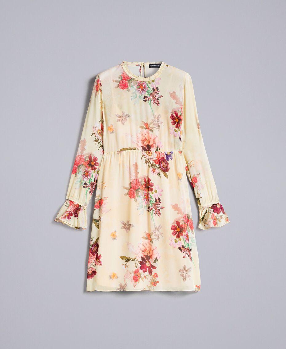 Mini-robe en crêpe georgette floral Imprimé Rose «Tea Garden» Femme PA8271-0S