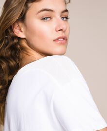 Maxi t-shirt avec broderie macramé Blanc Femme 201LM2HCC-04