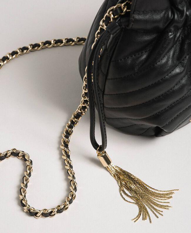 Petit sac seau en cuir matelassé Noir Femme 192TA7105-03