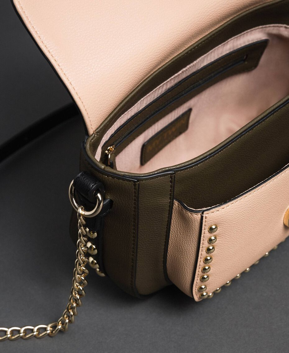 """Two-tone faux leather shoulder bag with studs """"Vetiver"""" Green / Blossom Pink Woman 192MA7103-05"""