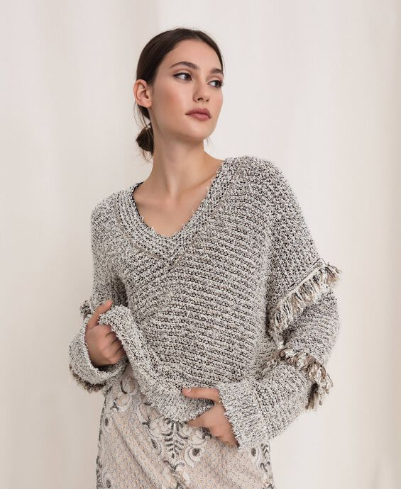 Twisted yarn jumper with lurex