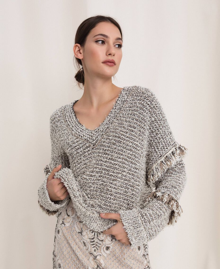 Twisted yarn jumper with lurex Multicolour Ivory / Black Woman 201TP3162-01