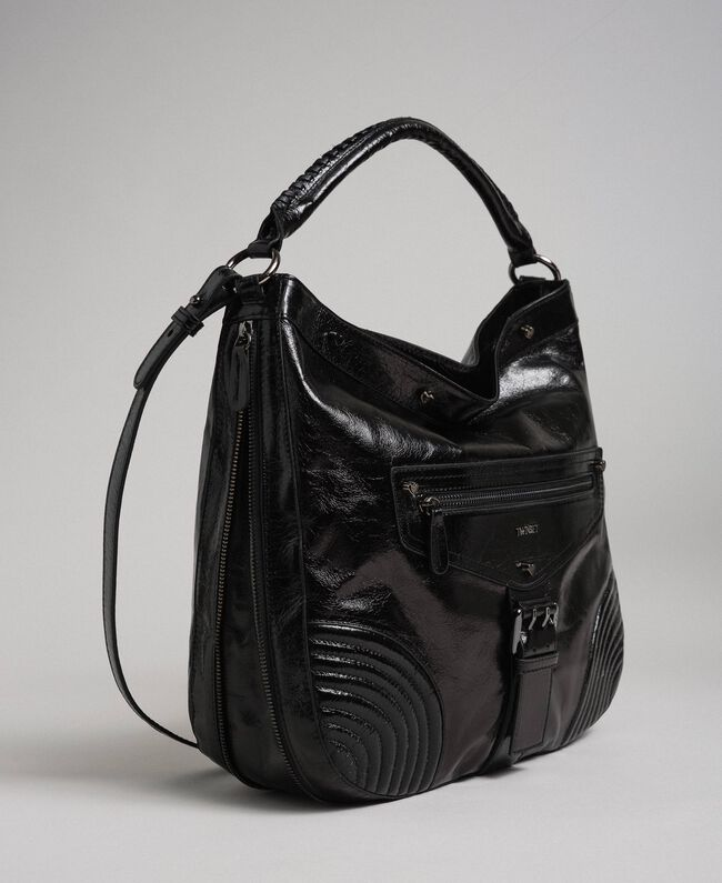 Crackled effect leather hobo bag with studs Black Woman 192TA7236-01
