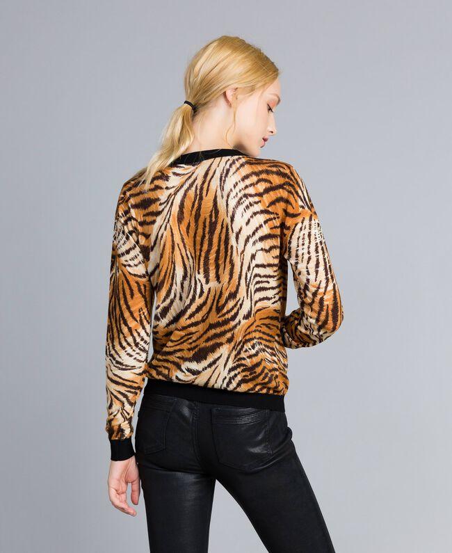Printed wool mandarin collar top Plain Tiger Print Woman TA83DU-03