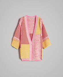 Maxicardigan im Patchwork-Look mit Fransen Streifen Patchwork Pink / Gelb Frau 191TP3310-0S