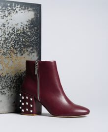 Faux leather ankle boots Bordeaux Woman DA8PJ1-01