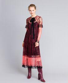 """Valencienne lace multi-colour long dress Burgundy Multicolour / """"Royal Pink"""" Woman PA82FS-02"""