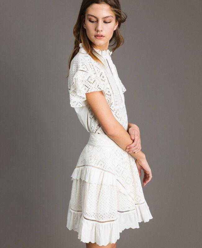 Minijupe évasée avec broderie anglaise Blanc Neige Femme 191TT2046-01