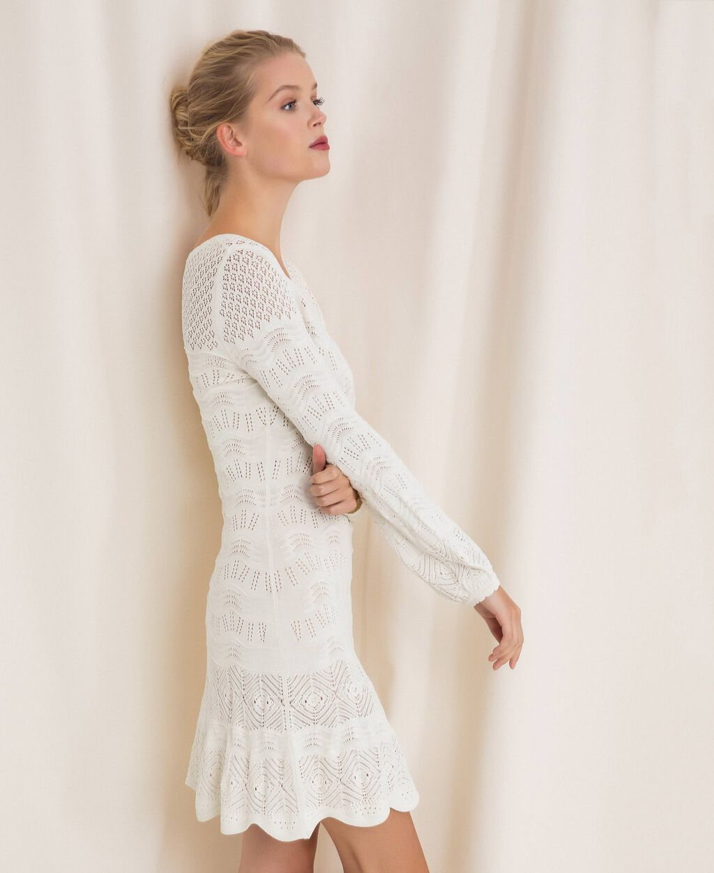 Lace effect knit dress