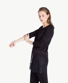 Sweatshirt aus Spitze Schwarz Frau LS8CFF-03