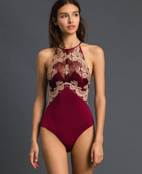 Push up cup bodysuit with two-tone lace