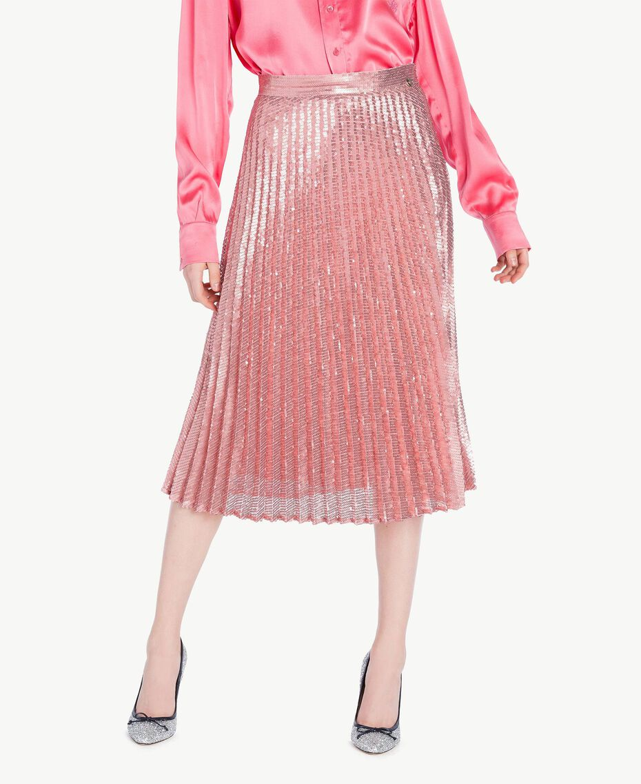 All over sequin skirt Hydrangea Pink Woman PS823V-01