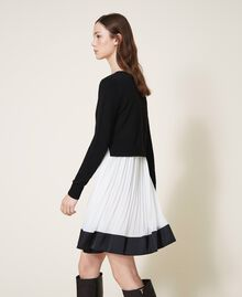 "Slip dress with wool blend jumper Bicolour Black / ""Snow"" White Woman 202TT3052-03"