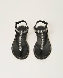 Thong sandals with bezels and rhinestones Black Woman 211TCT044-05