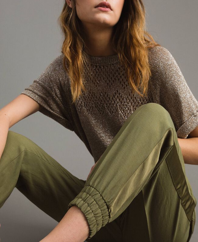 "Pantalon de jogging en lin Vert ""Olive"" Femme 191TT230B-05"