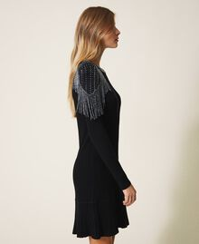 Ribbed knit dress with fringes Black Woman 202TT3211-02