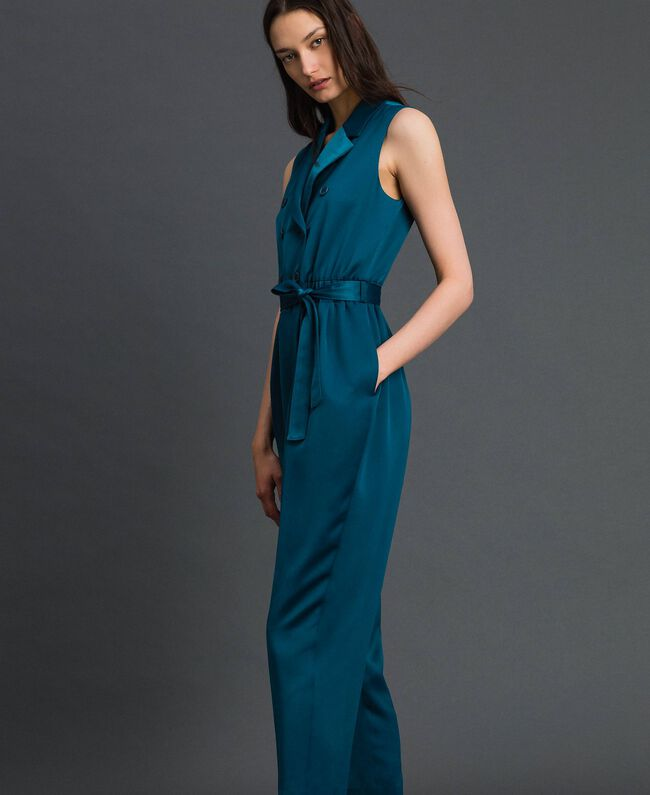 "Double breasted jumpsuit with belt at the waist ""Lake"" Blue Woman 192MP2350-03"