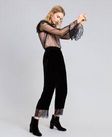 Pantaloni cropped in velluto Nero Donna TA826S-02