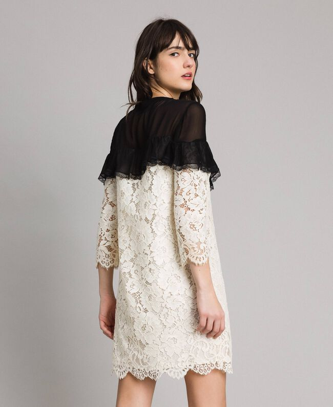 """Macramé lace two-tone dress Bicolour """"Snow"""" White / Black Woman 191TP2256-03"""