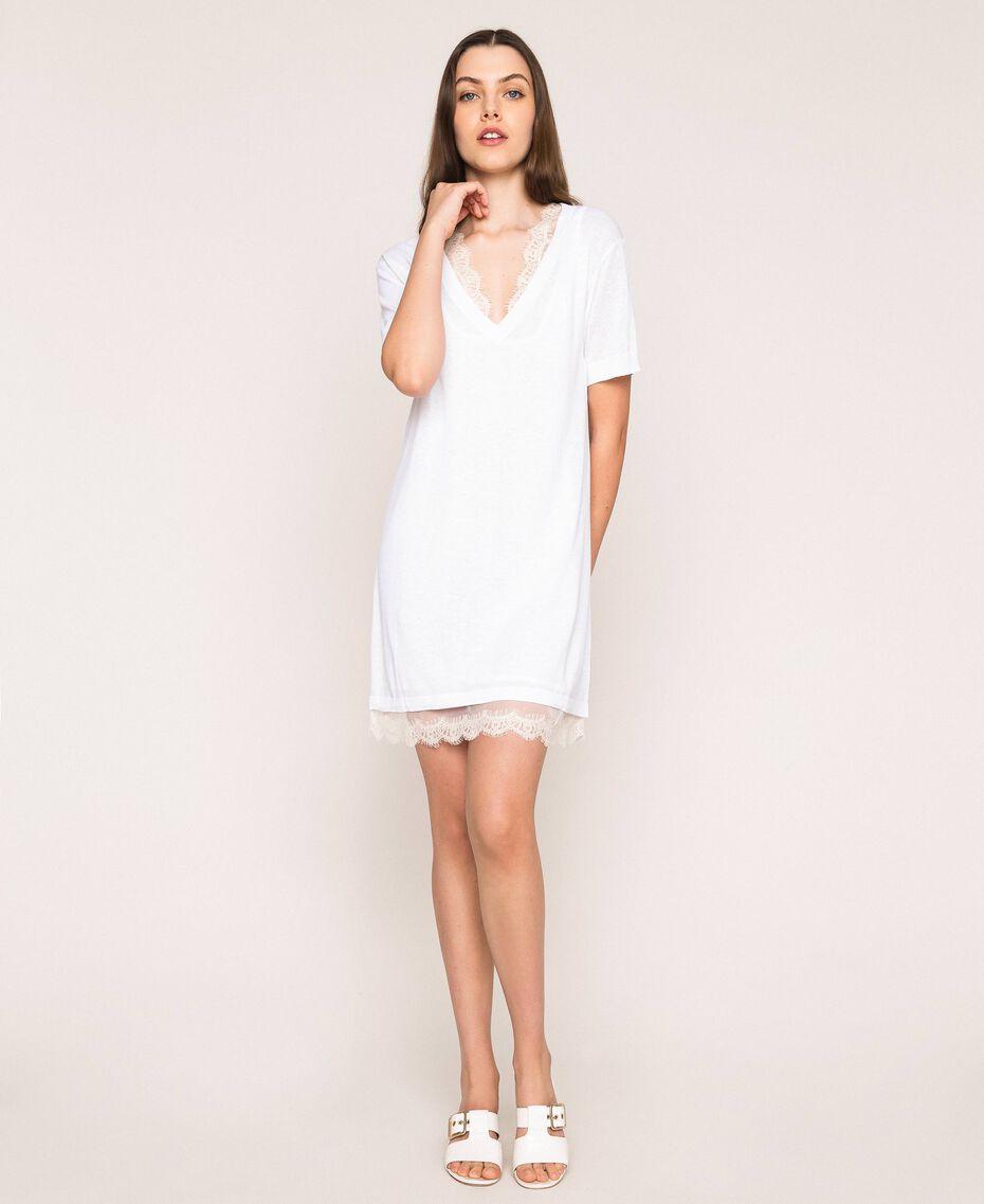 Mini-robe en lin mélangé avec fond de robe Noir Femme 201MT3021-02