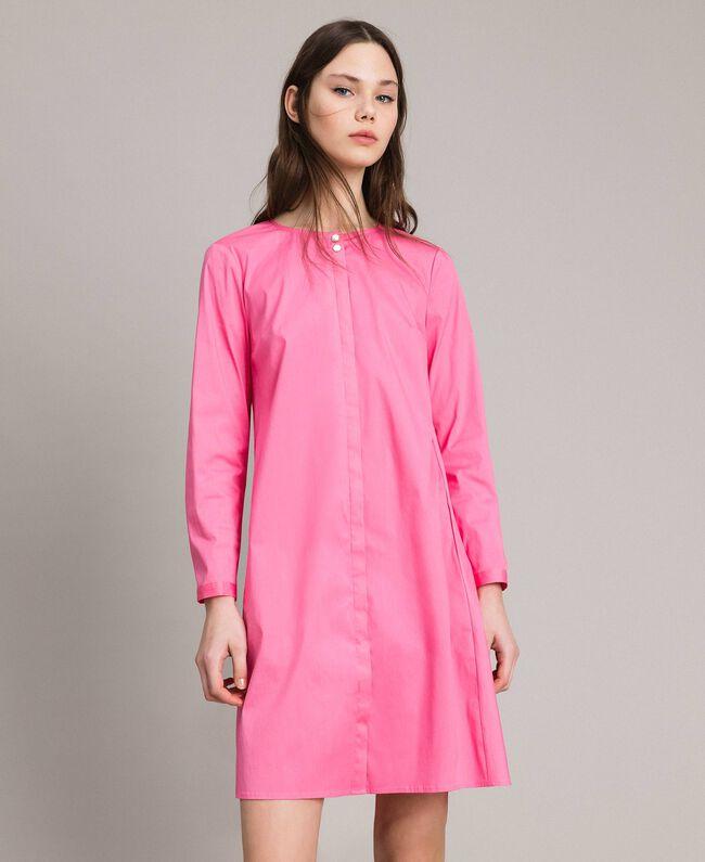 Hemdblusenkleid aus Popeline Rosa Kamelie Frau 191MP2215-01