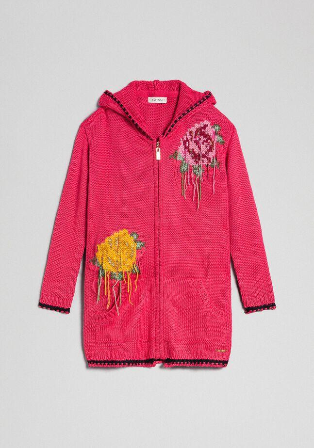 Maxi cardigan en laine mélangée avec incrustation de roses
