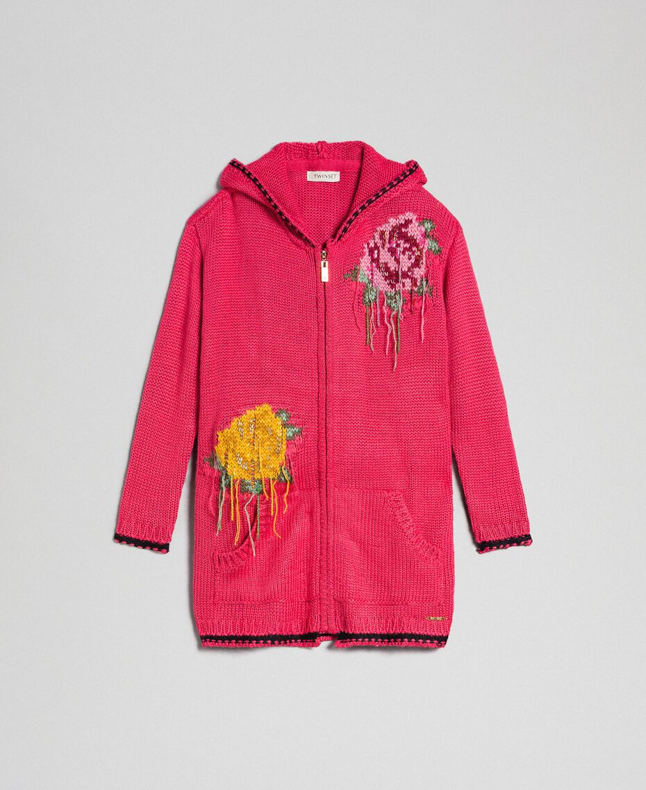 "Wool blend maxi cardigan with rose inlay ""Candy"" Fuchsia/ Black Child 192GJ3021-0S"