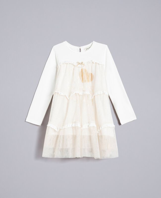 Jersey and tulle dress Bicolour White / Gold Lurex Child FA82L2-01